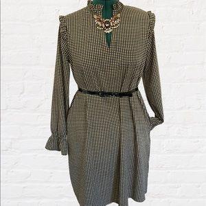 H&M Black/White Gingham Check Long Sleeve Dress